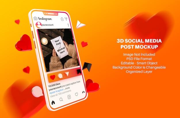 Postagem de mídia social no instagram e histórias em maquete estilo 3d