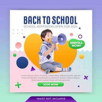 Postagem de mídia social no instagram e modelo de banner da web para admissão à educação escolar