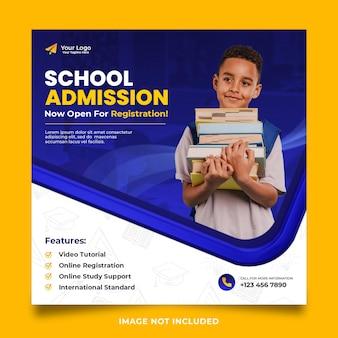 Postagem de mídia social para admissão escolar com quadro 3d