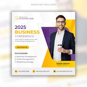 Postagem de mídia social para conferências de negócios corporativos e modelo de design de banner da web
