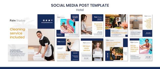 Postagem de mídia social para funcionários e clientes em hotéis