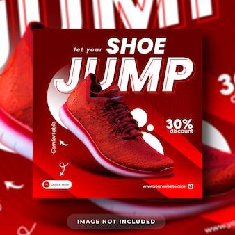 Postagem de mídia social para promoção de produtos de calçados e modelo de banner da web