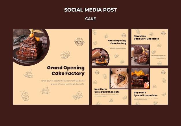 Postagem de mídia social sobre a inauguração de uma fábrica de bolos