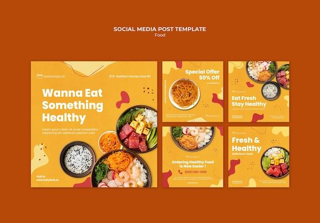Postagem de mídia social sobre comida saborosa e saudável