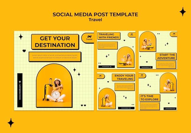 Postagem de mídia social sobre conceito de viagens