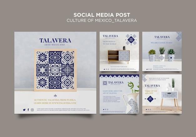 Postagem de mídia social sobre cultura mexicana talavera