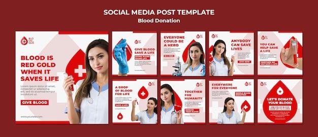 Postagem de mídia social sobre doação de sangue