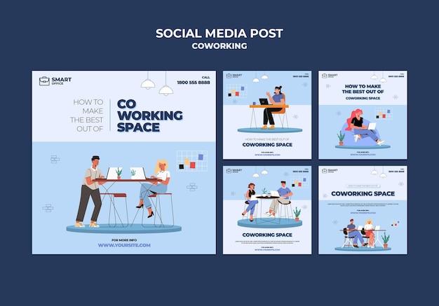 Postagem de mídia social sobre espaço de coworking