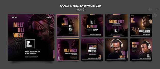 Postagem de mídia social sobre festival de música