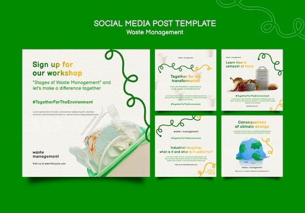 Postagem de mídia social sobre gerenciamento de resíduos