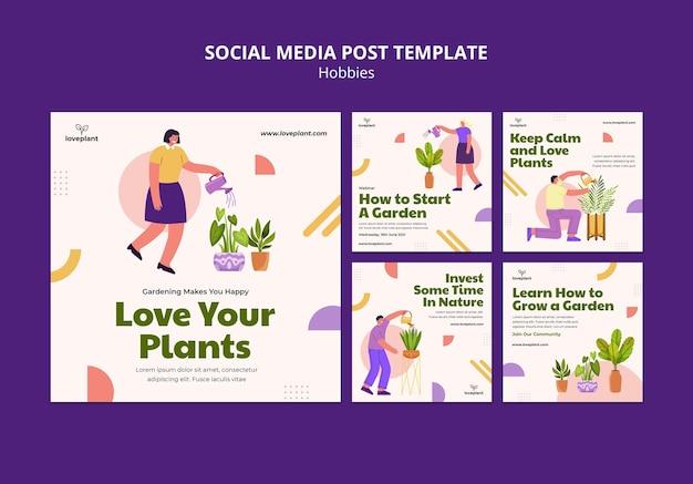 Postagem de mídia social sobre hobby de jardinagem