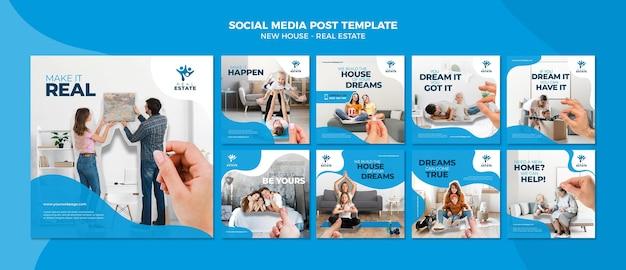 Postagem de mídia social sobre imóveis de nova casa