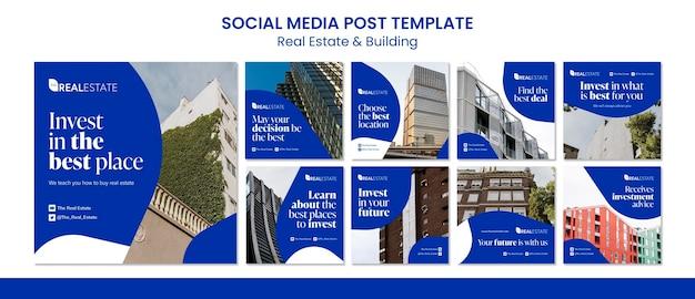 Postagem de mídia social sobre imóveis e construção