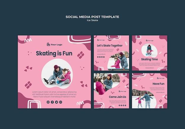 Postagem de mídia social sobre patinação no gelo Psd grátis