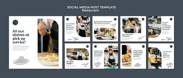Postagem de mídia social sobre restaurantes