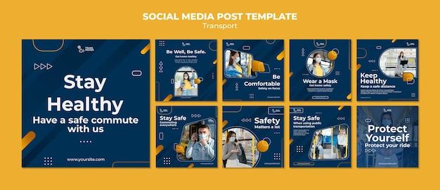 Postagem de mídia social sobre transporte seguro