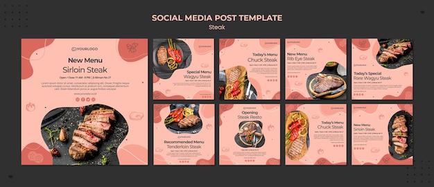 Postagem de mídia social steak
