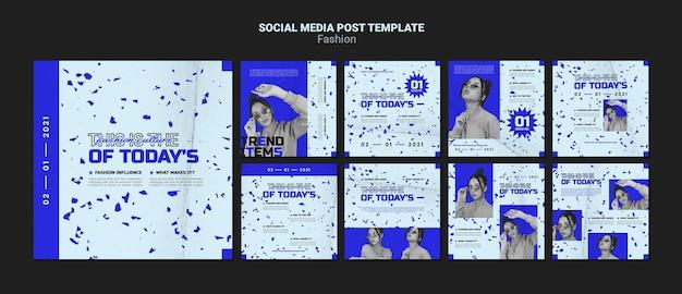 Postagem de moda nas redes sociais