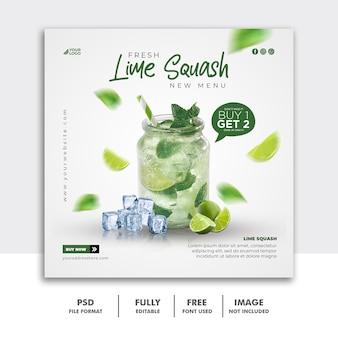 Postagem de modelo de banner quadrado em mídia social para menu de comida de restaurante, bebida de verão
