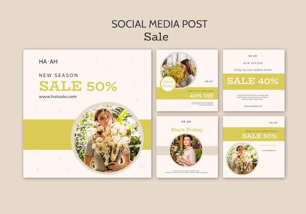 Postagem de oferta de venda na mídia social
