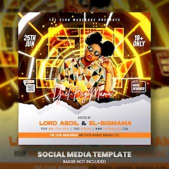 Postagem de panfleto da festa de djs nas redes sociais