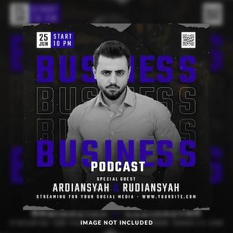 Postagem de podcast de negócios em mídia social ou modelo de banner
