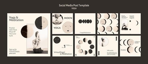 Postagem de prática de ioga nas redes sociais