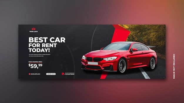 Postagem de promoção de aluguel de veículos em mídia social em modelo de fundo vermelho e preto premium psd