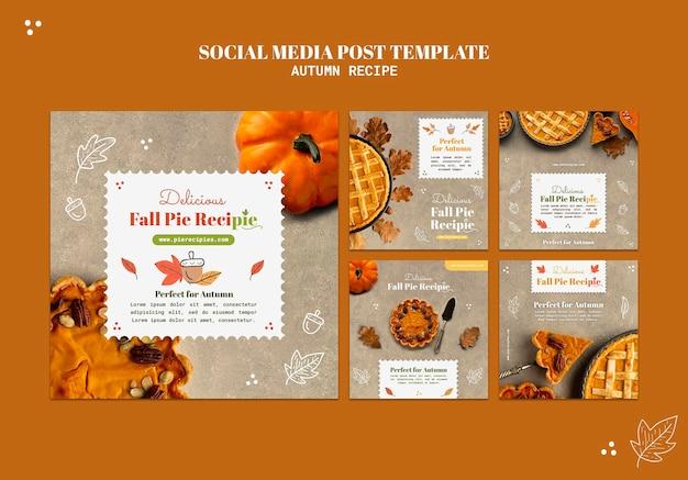 Postagem de receita de outono em mídia social