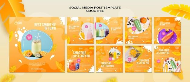 Postagem de smoothie na mídia social
