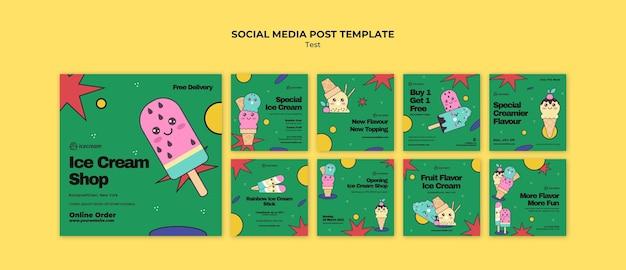 Postagem de sorvete na mídia social