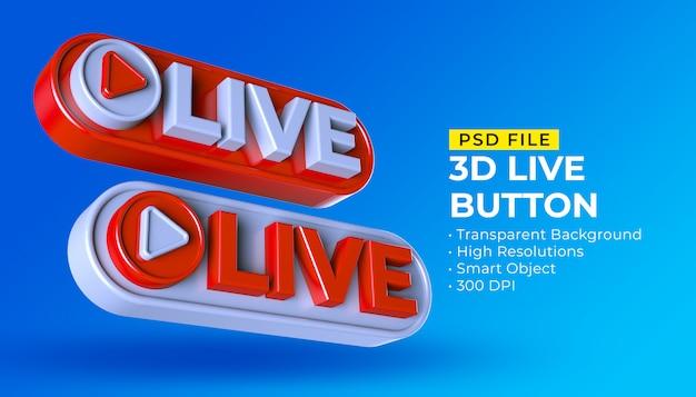 Postagem de transmissão ao vivo de mídia social com botão 3d live