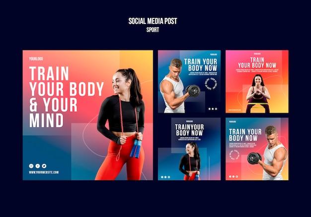 Postagem de treinamento corporal na mídia social
