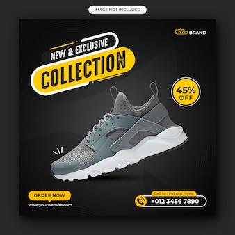 Postagem de venda de sapatos em mídia social e banner na web