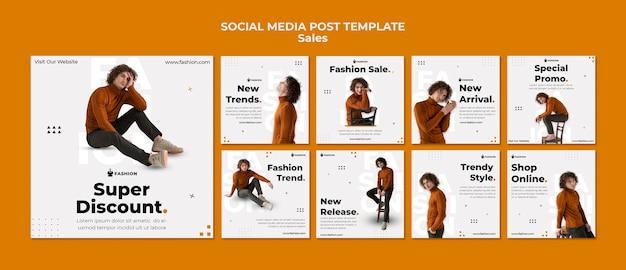 Postagem de vendas de moda na mídia social
