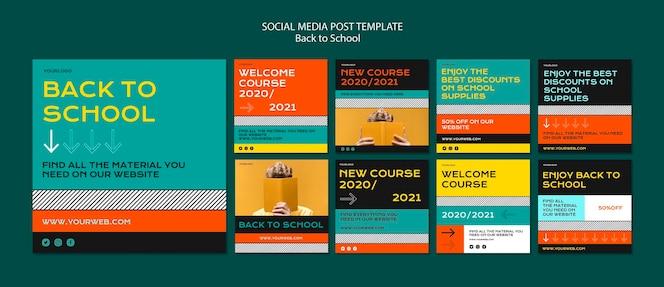 Postagem de volta às aulas nas redes sociais