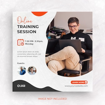 Postagem de webinar de treinamento on-line em mídia social ou modelo de banner