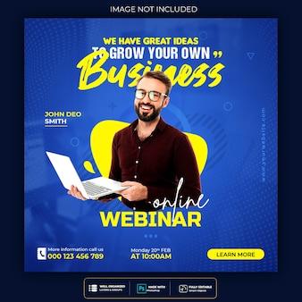 Postagem de webinar on-line ao vivo em mídia social ou modelo de banner quadrado