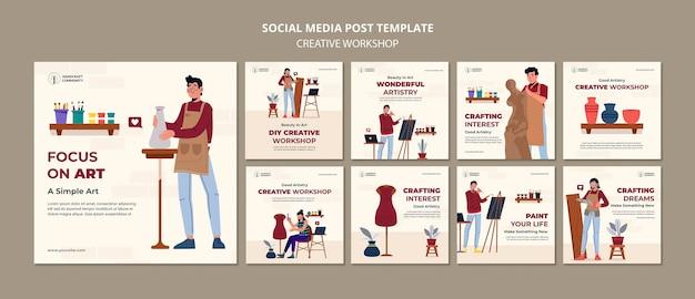 Postagem de workshop criativo em mídia social