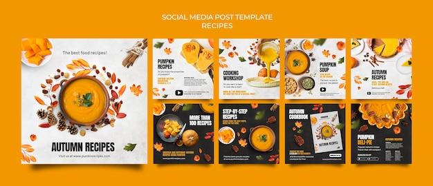 Postagem deliciosa de comida de outono nas redes sociais