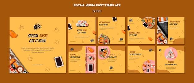 Postagem deliciosa de sushi nas redes sociais
