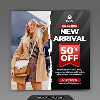 Postagem dinâmica e moderna do instagram para o modelo de promoção de marketing de venda de moda