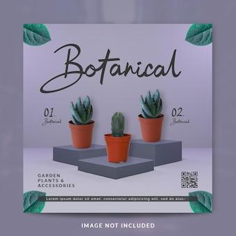 Postagem em mídia social botânica ou modelo de banner