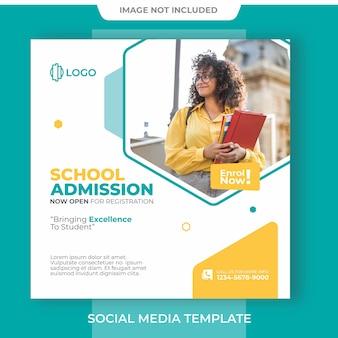 Postagem em mídia social com banner editável de admissão escolar