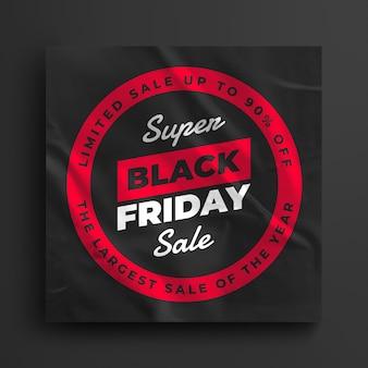 Postagem em mídia social da black friday super sale e modelo de banner da web