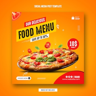 Postagem em mídia social de alimentos e modelo de design de banner do instagram