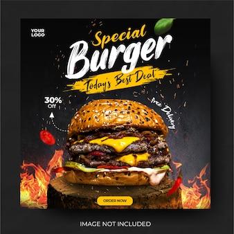 Postagem em mídia social de banner de hambúrguer em menu de comida
