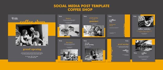Postagem em mídia social de cafeteria