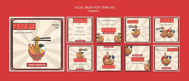 Postagem em mídia social de gráficos de alimentos