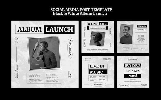 Postagem em mídia social de lançamento de álbum em preto e branco
